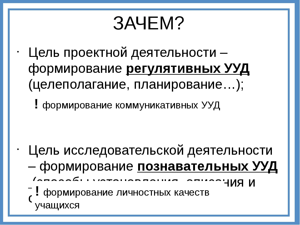 Цель проектной деятельности – формирование регулятивных УУД (целеполагание, п...