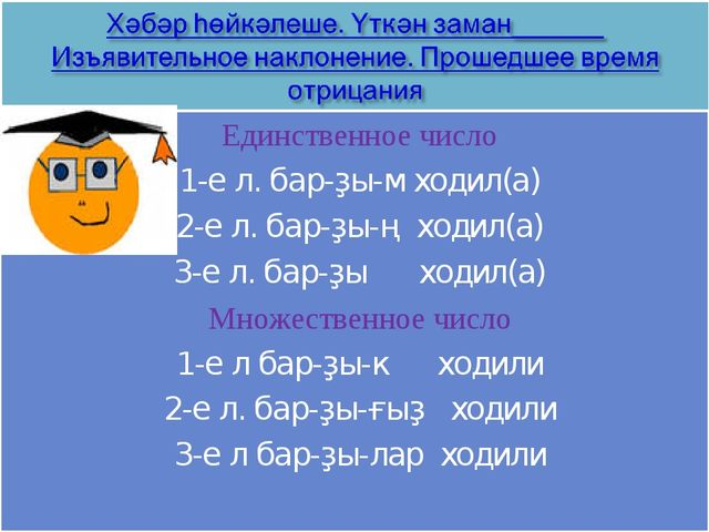 Единственное число 1-е л. бар-ҙы-м ходил(а) 2-е л. бар-ҙы-ң ходил(а) 3-е л. б...