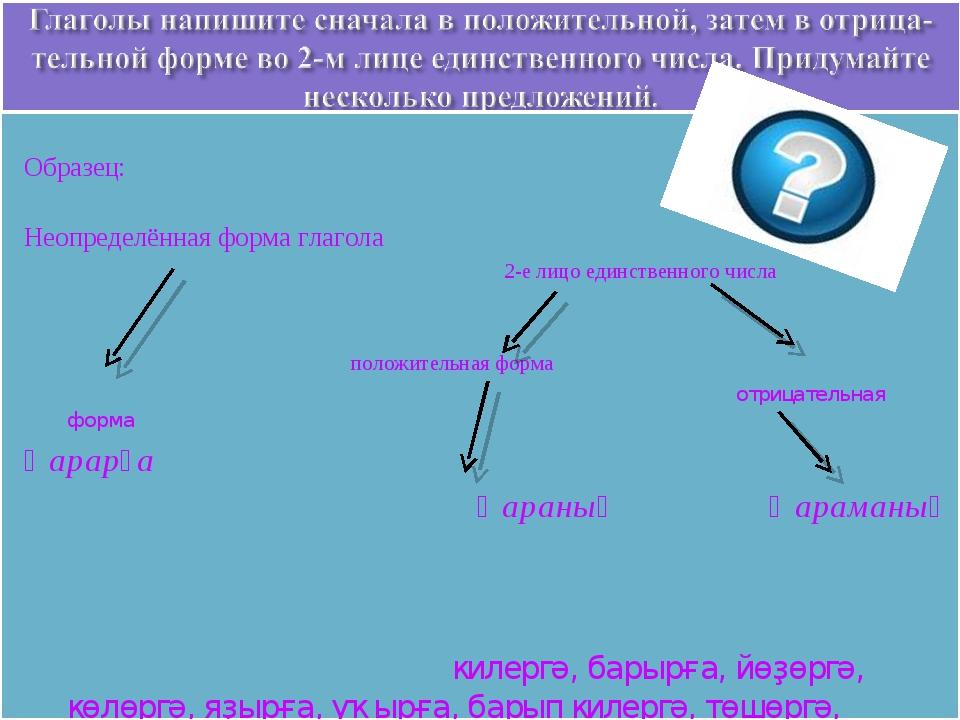 Образец: Неопределённая форма глагола 2-е лицо единственного числа  положит...