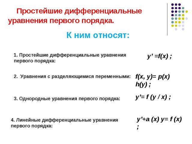 Простейшие дифференциальные уравнения первого порядка. К ним относят: 1. Про...