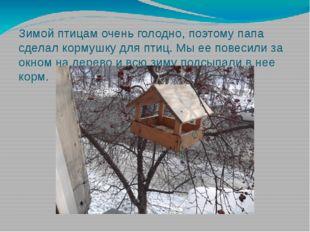Зимой птицам очень голодно, поэтому папа сделал кормушку для птиц. Мы ее пове
