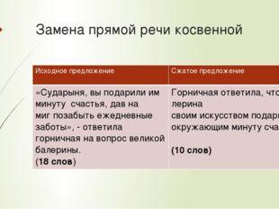 Замена прямой речи косвенной Исходное предложение Сжатое предложение «Сударын