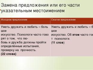 Замена предложения или его части указательным местоимением Исходное предложе
