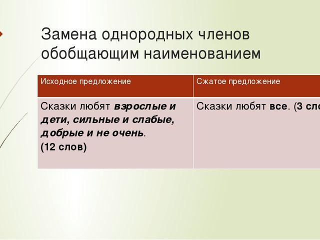 Замена однородных членов обобщающим наименованием Исходное предложение Сжатое...