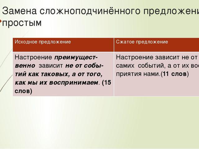 Замена сложноподчинённого предложения простым Исходное предложение Сжатое пре...