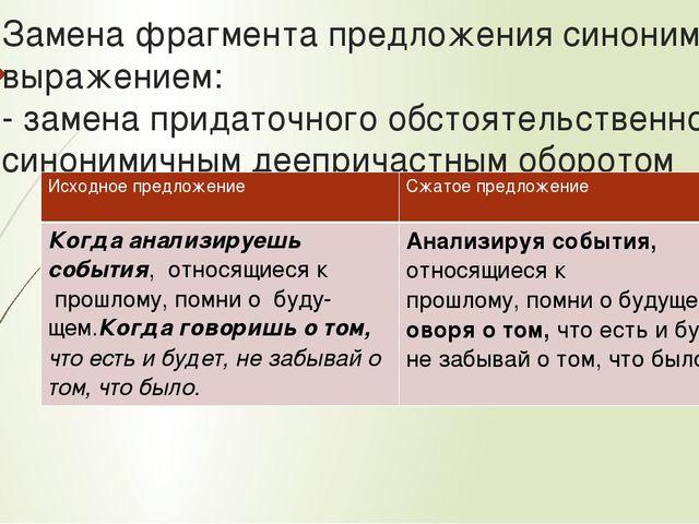 Замена фрагмента предложения синонимичным выражением: - замена придаточного о...