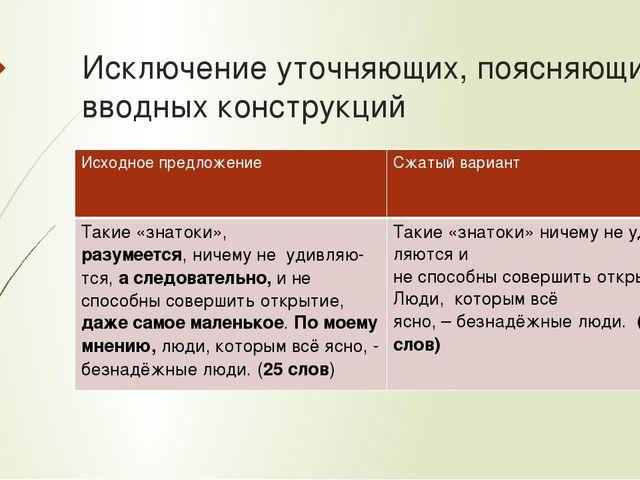 Исключение уточняющих, поясняющих, вводных конструкций Исходное предложение С...