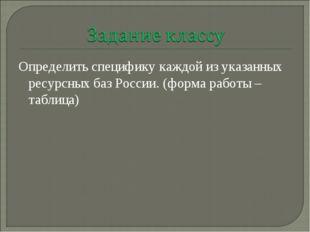 Определить специфику каждой из указанных ресурсных баз России. (форма работы