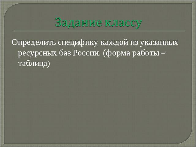 Определить специфику каждой из указанных ресурсных баз России. (форма работы...