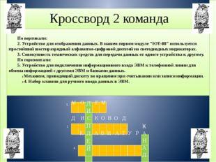 Кроссворд 2 команда По вертикали: 2. Устройство для отображения данных. В на