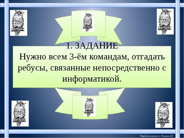 Подготовил мастер п\о: Юнченко Д.В. 1. ЗАДАНИЕ Нужно всем 3-ём командам, отга...
