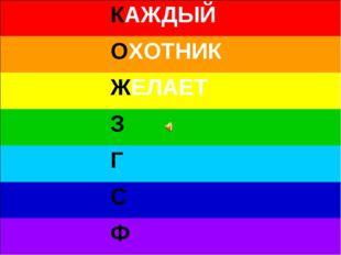 КАЖДЫЙ ОХОТНИК ЖЕЛАЕТ З Г С Ф