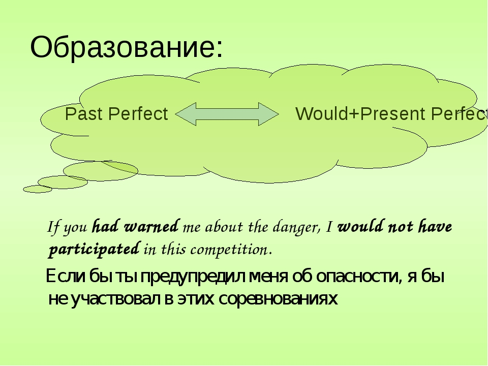 Образование: Past Perfect Would+Present Perfect If you had warned me about th...