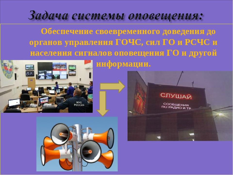 Обеспечение своевременного доведения до органов управления ГОЧС, сил ГО и РС...