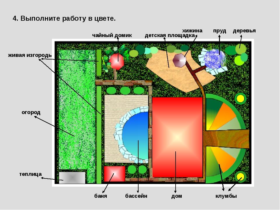 4. Выполните работу в цвете. огород теплица живая изгородь чайный домик баня...