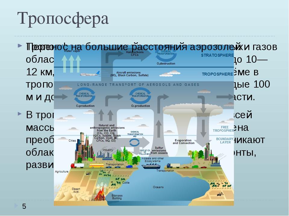Тропосфера Тропосфера—нижний, высотой в полярных областях 8—10 км, в умерен...