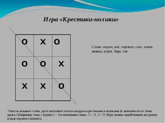 Игра «Крестики-нолики» Учитель называет слова, дети заполняют клетки квадрата...
