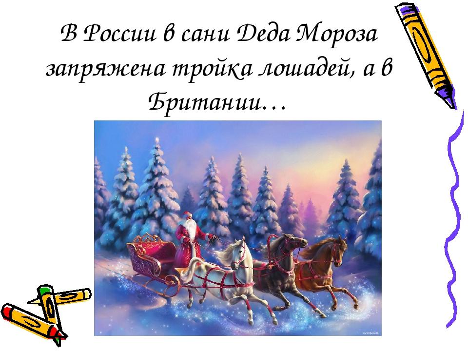В России в сани Деда Мороза запряжена тройка лошадей, а в Британии…