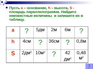 Пусть а – основание, h – высота, S - площадь параллелограмма. Найдите неизвес