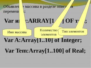 Var имя:ARRAY[1..N] OF тип; Объявление массива в разделе описания переменных: