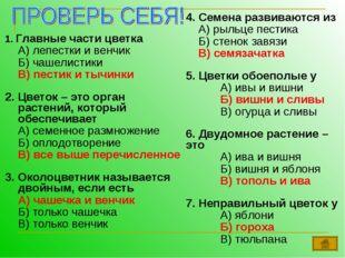 1. Главные части цветка А) лепестки и венчик Б) чашелистики В) пестик и ты
