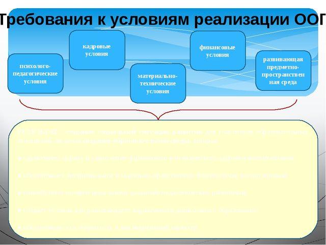 Требования к условиям реализации ООП РЕЗУЛЬТАТ - создание социальной ситуации...