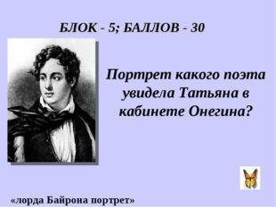 Портрет какого поэта увидела Татьяна в кабинете Онегина? «лорда Байрона портр