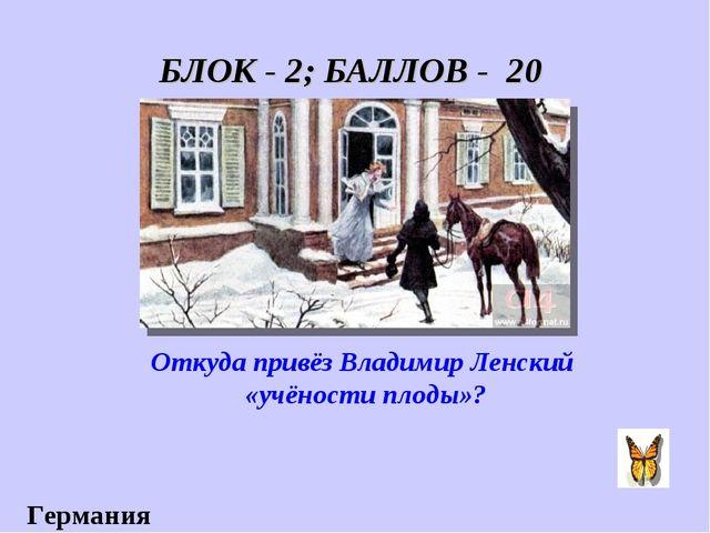 БЛОК - 2; БАЛЛОВ - 20 Откуда привёз Владимир Ленский «учёности плоды»? Германия