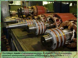 Продукция завода «Сибэлектромотор». В области технологических решений предпр
