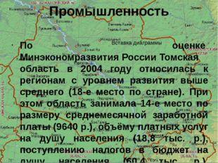 Промышленность По оценкеМинэкономразвития РоссииТомская область в 2004 году