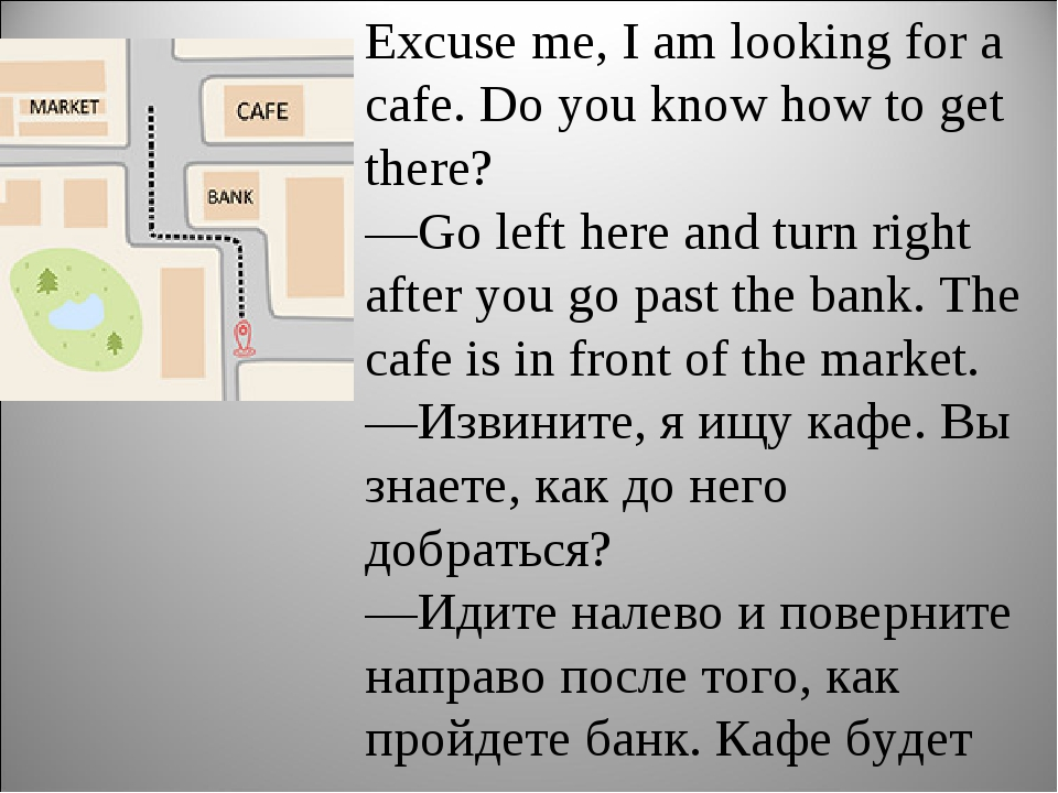 Excuse me, I am looking for a cafe. Do you know how to get there? —Go left he...