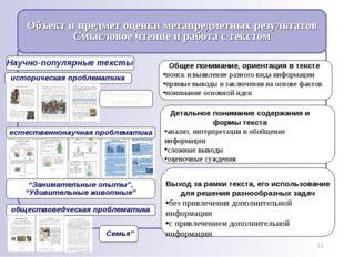 * Общее понимание, ориентация в тексте поиск и выявление разного вида информа
