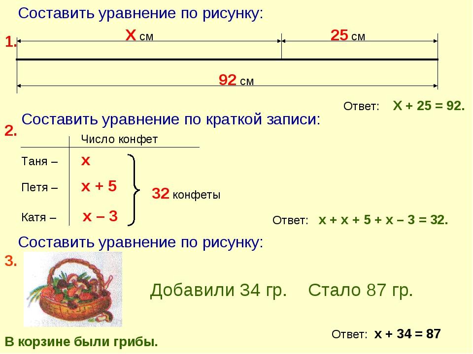 Составить уравнение по рисунку: Х см 25 см 92 см 1. 2. Составить уравнение по...