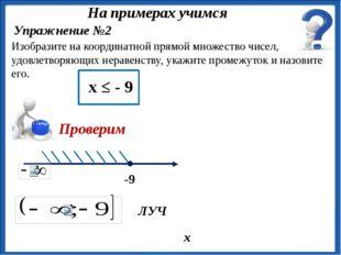 ЛУЧ Упражнение №2 Изобразите на координатной прямой множество чисел, удовлет