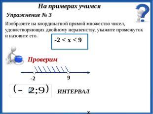 х ИНТЕРВАЛ Изобразите на координатной прямой множество чисел, удовлетворяющи