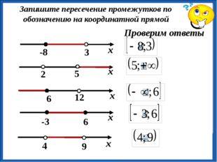 Запишите пересечение промежутков по обозначению на координатной прямой Прове