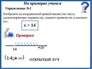 ОТКРЫТЫЙ ЛУЧ Упражнение №1 Изобразите на координатной прямой множество чисел