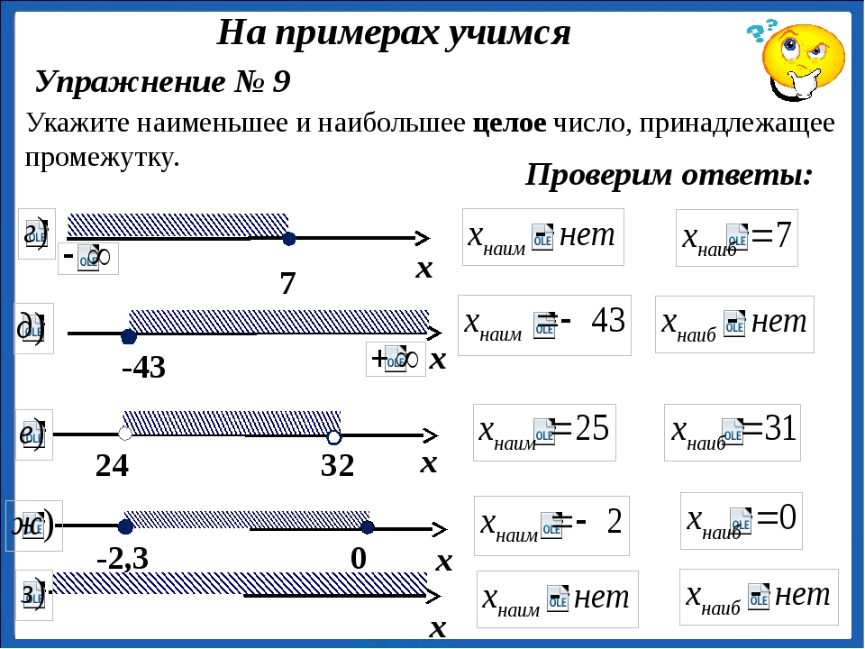 Упражнение № 9 Укажите наименьшее и наибольшее целое число, принадлежащее пр...