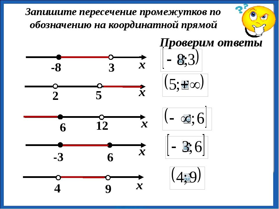 Запишите пересечение промежутков по обозначению на координатной прямой Прове...