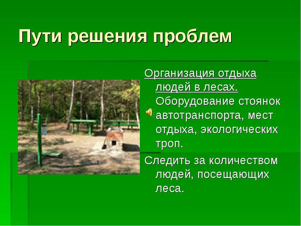 Пути решения проблем Организация отдыха людей в лесах. Оборудование стоянок а...