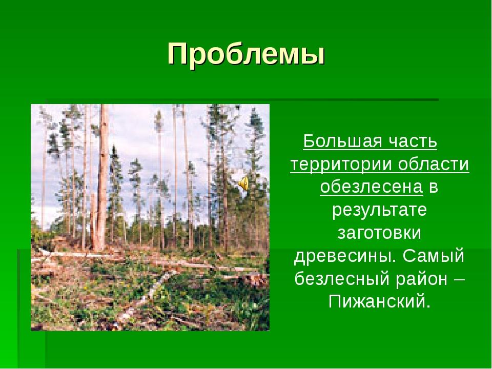 Проблемы Большая часть территории области обезлесена в результате заготовки д...