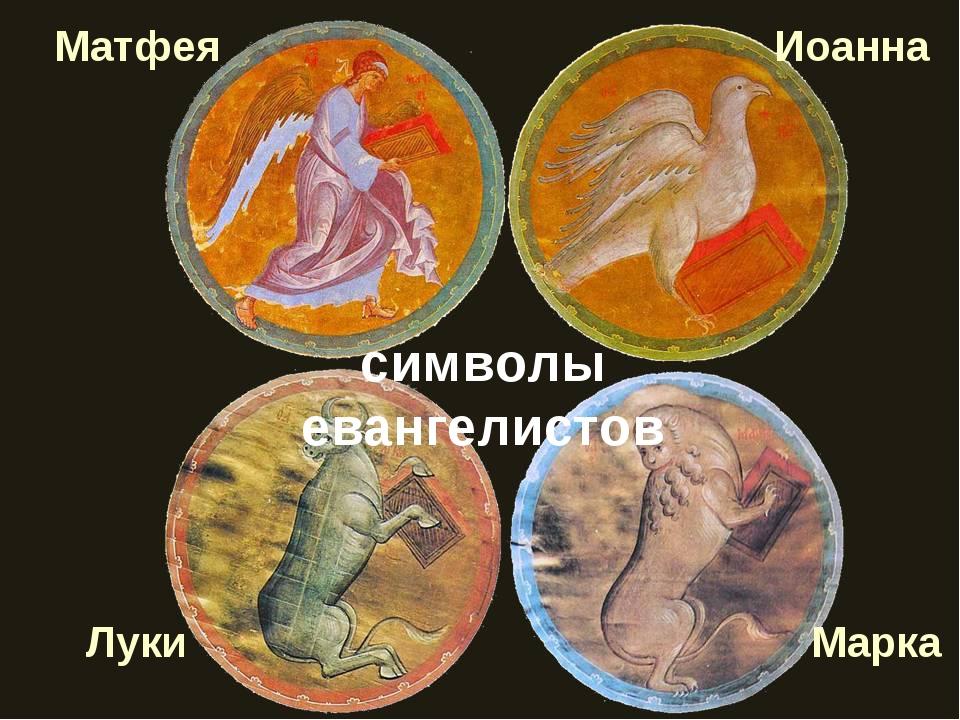 символы евангелистов Матфея Иоанна Марка Луки