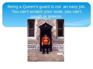 Being a Queen's guard is not an easy job. You can't scratch your nose, you ca