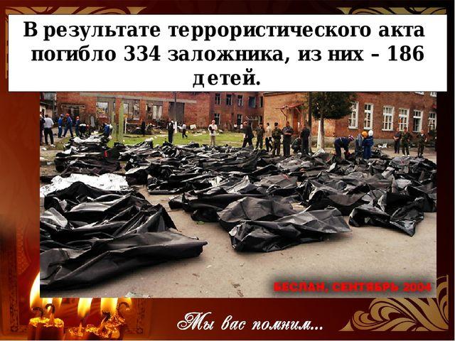 В результате террористического акта погибло 334 заложника, из них – 186 детей.