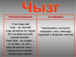 Лексикон рæнхъытæАссоциацитæ О мæ хуры хай Азар – ма, чызгай! Азар, цалынмæ