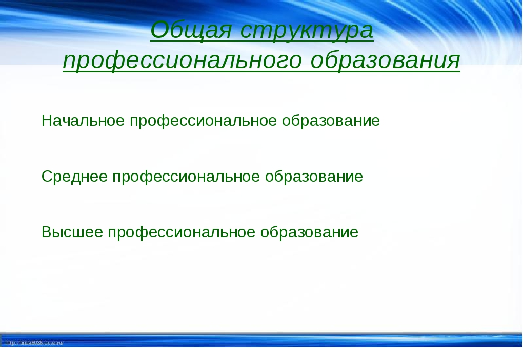 Начальное профессиональное образование   Среднее профессиональное образовани...