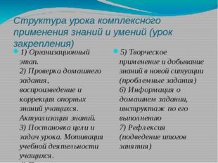 Структура урока комплексного применения знаний и умений (урок закрепления) 1