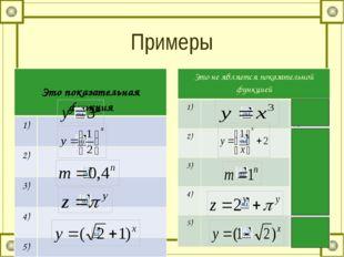 Примеры Это показательная функция 1) 2) 3) 4) 5) Это не является показательно