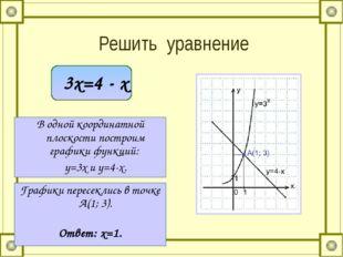 Решить уравнение 3x=4 - x В одной координатной плоскости построим графики фу