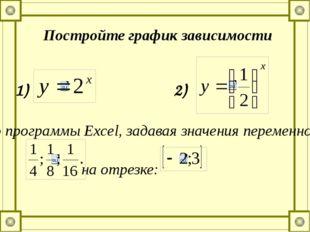 Постройте график зависимости 1) с помощью программы Еxcel, задавая значения п